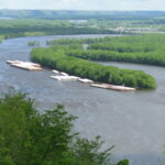 Mississippi River and a barge
