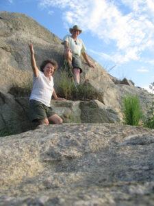 People on large rock