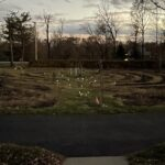 solar lights in labyrinth