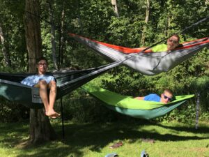 Boy Scouts on hammocks