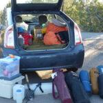 camping gear in car