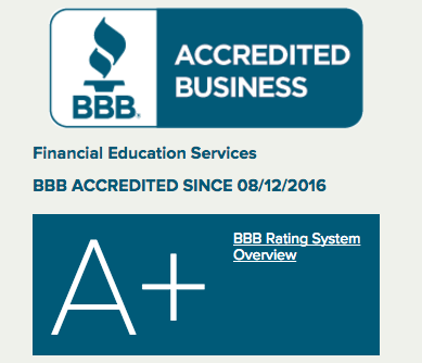financial education service BBB rating