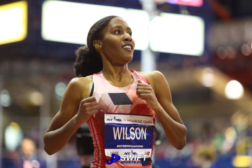 Ajee Wilson with a big smile as she crosses the finish line. Photo by: Joseph Swift