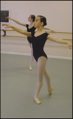 Proffesional Division Student at The Raleigh School of Ballet performing ballet excersizes.