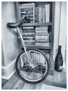 Molly Elwood's unicycle, author of Spartacus Ryan Zander and the Secrets of the Incredible, a Fitzroy Books title