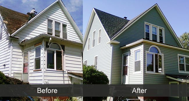Vinyl siding before and after