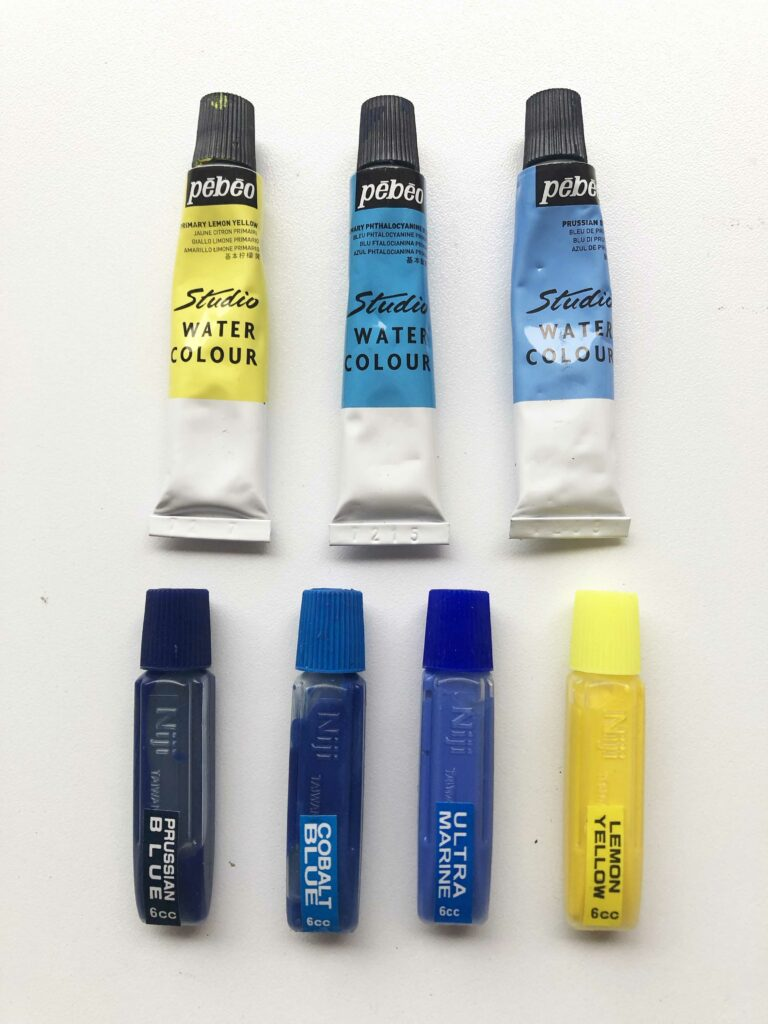 Pinturas para acuarela en tubo y liquida.