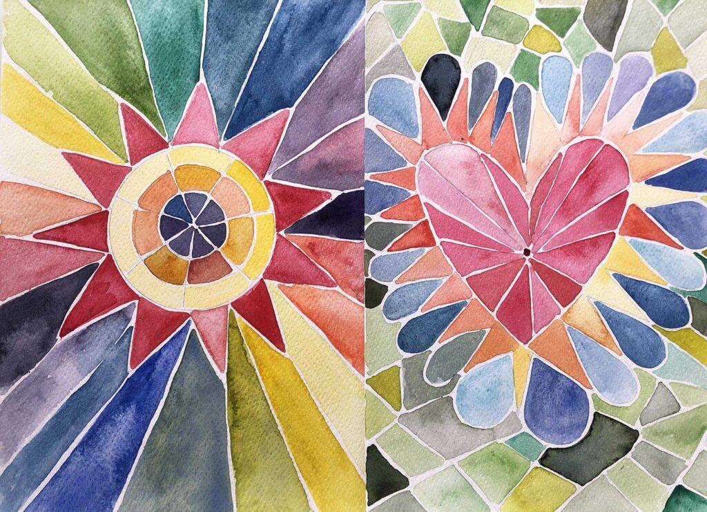 mosaico acuarela