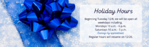Holiday Hours Plaza Jewelry banner