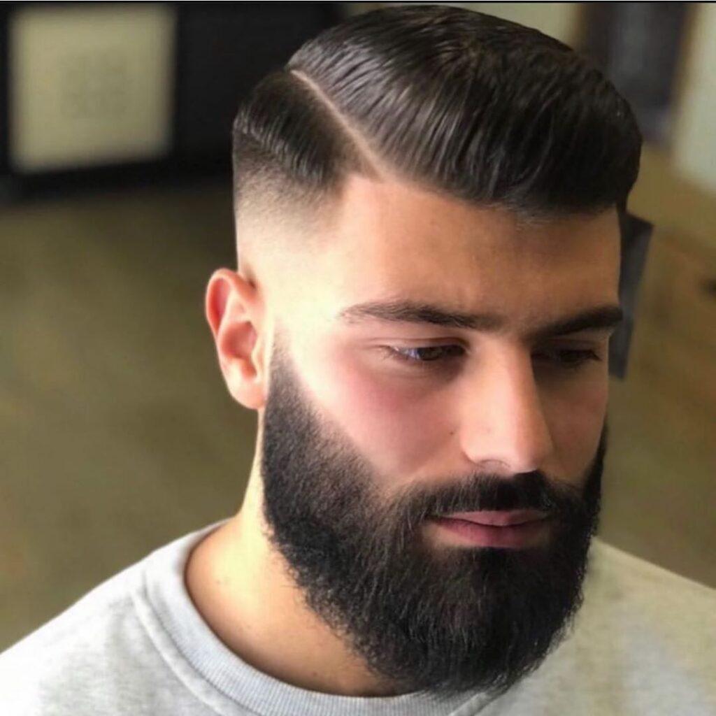 Fade Side Part + Beard
