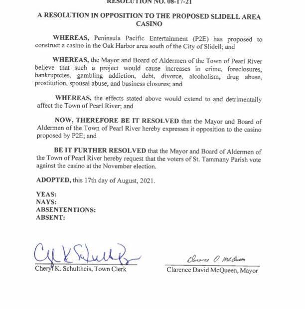Pearl River Board Endorsement