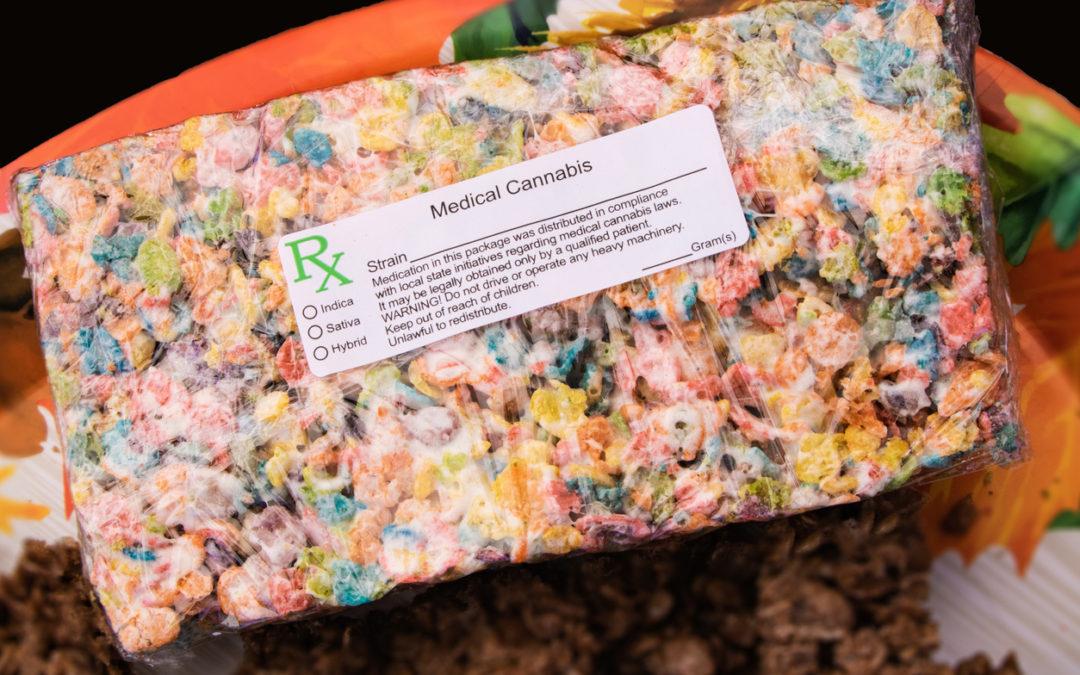 Large marijuana edible treat with generic medical cannabis prescription label