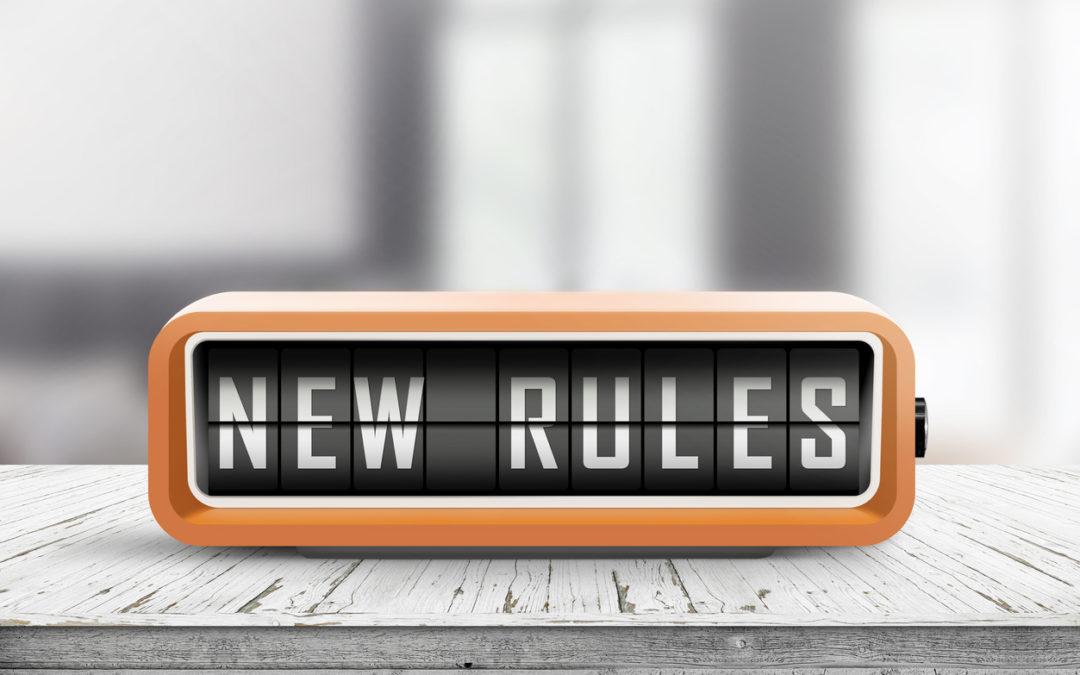 Desk clock that spells NEW RULES
