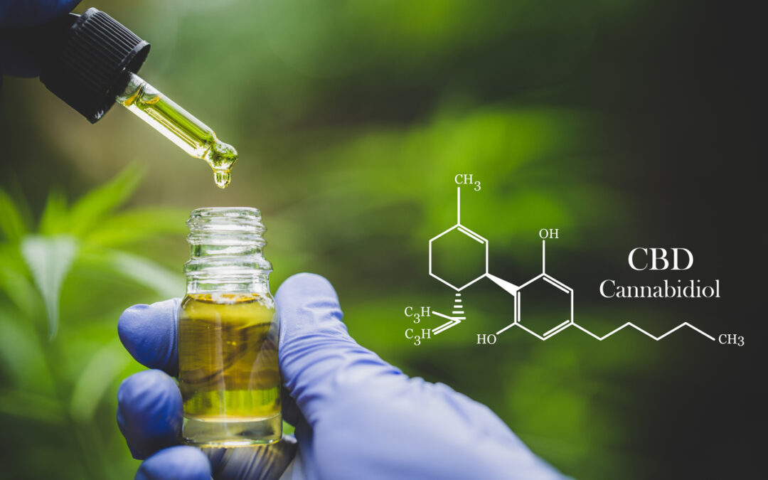 Small bottle of CBD oil and a dropper. CBD chemical formula