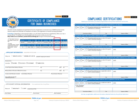 Both Pages of Certificate of Compliance