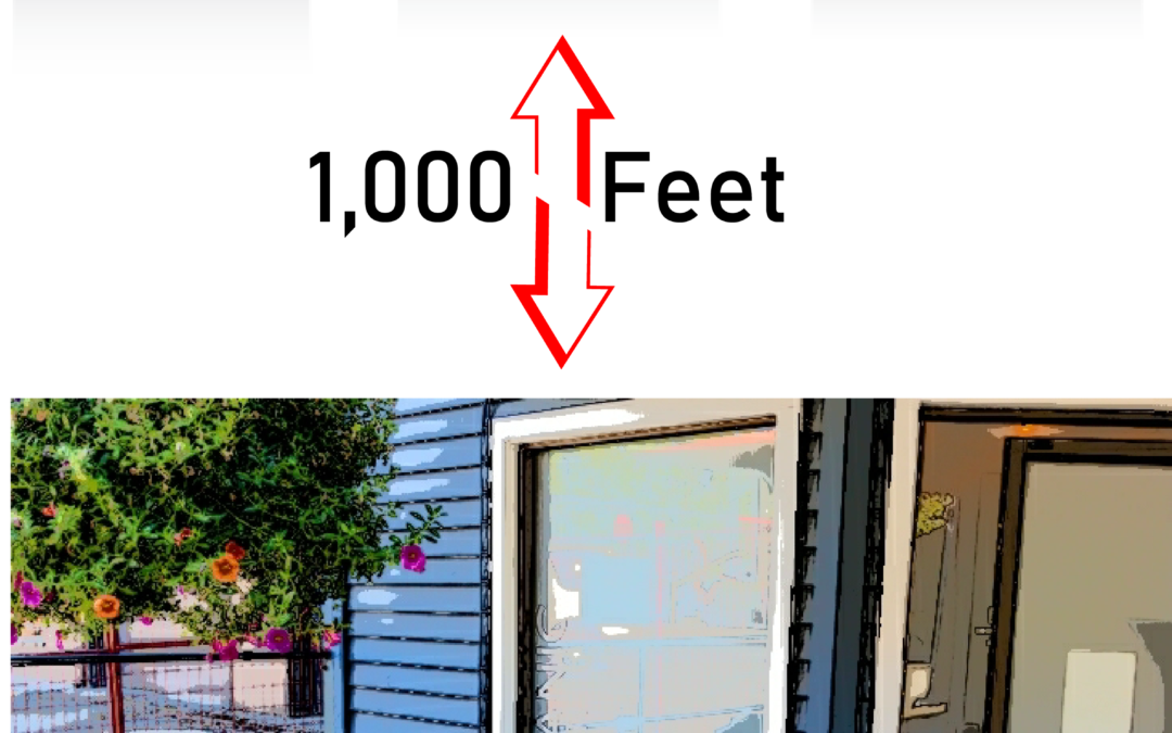 Illustration showing places of worship 1,000 feet from a marijuana dispensary building