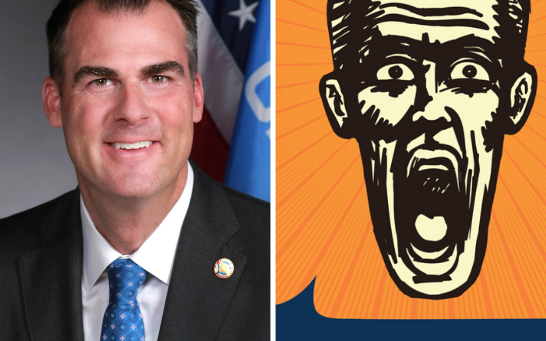 Picture of Oklahoma Gov. Kevin Stitt and an illustration showing a man saying OMG