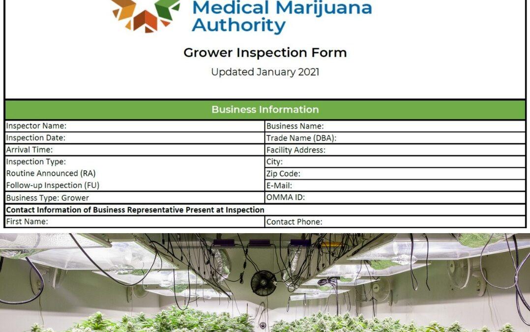 OMMA compliance form with marijuana growing
