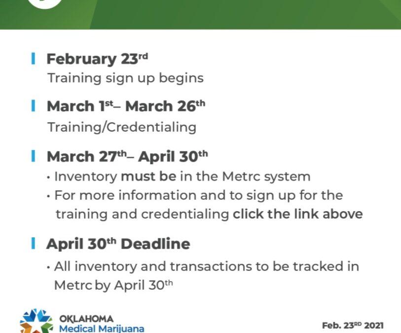 Chart showing Metrc training deadlines