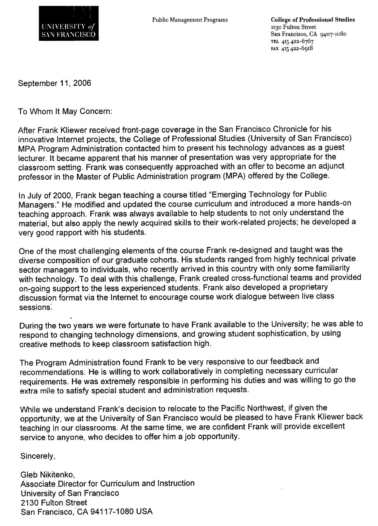 USF Letter