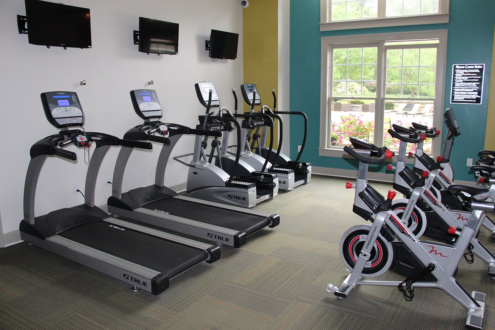 Multi-housing, Multi-family Apartment Home Fitness Center Design and Installation Treadmill, Cardio Equipment and Strength with Custom Color, Treadmill, Elliptical, Dumbbells, and Dumbbell Rack. TRUE Fitness Equipment. UNIQUE Fitness PIECES, ready for what's new in fitness, custom functional training rigs with storage and virtual fitness for on demand classes
