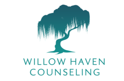 Company Logo: Illustration of a willow tree with text below. Text reads: Willow Haven Counseling.