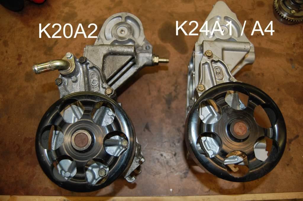 k20a2 vs k24a1a4 water pump housing