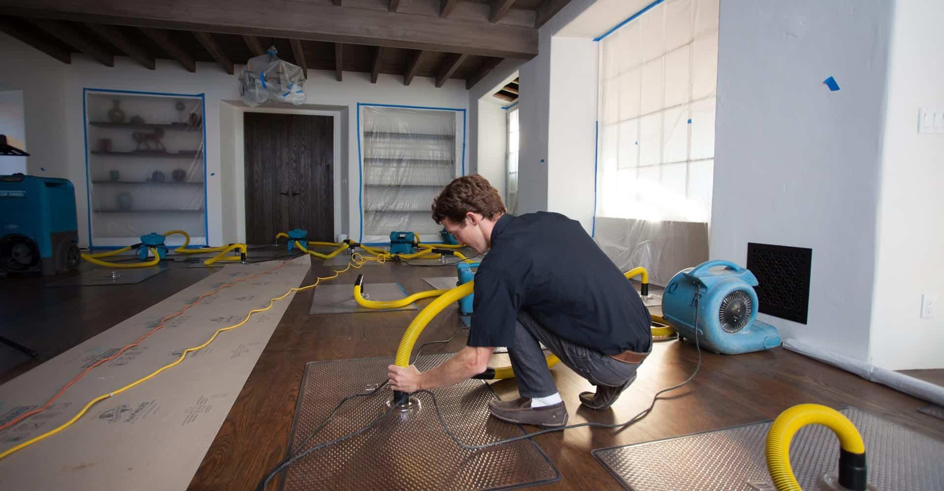 Water damage restoration via water extraction