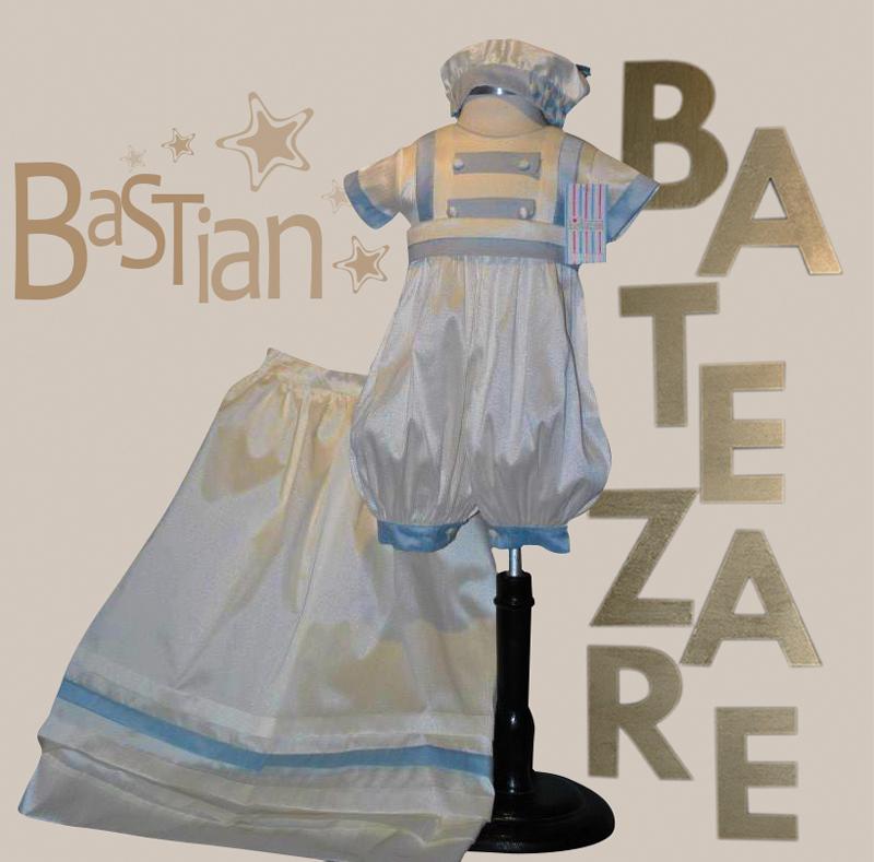 Ropón desmontable de bautizo Mod. BASTIAN incluye: Bombacho, Faldón y Boina Europea