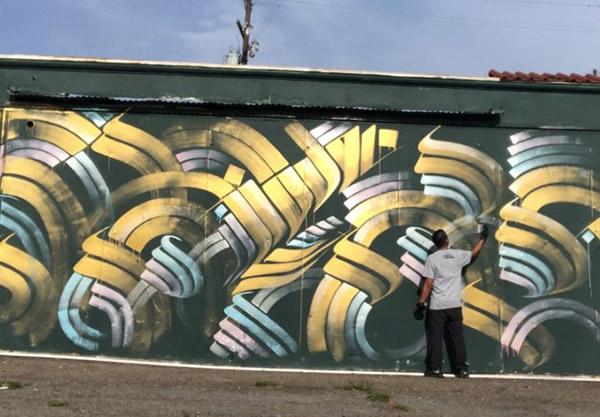 Blue Lot in Downtown Santa Ana Mural by Zak Perez
