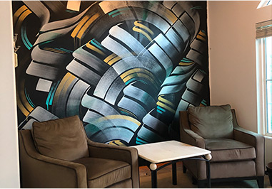 Mural inside an art collectors residence in Irvine