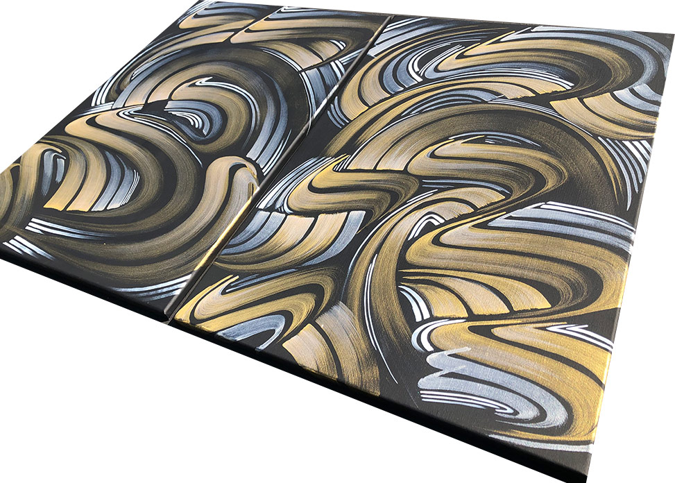 Black and gold abstract art