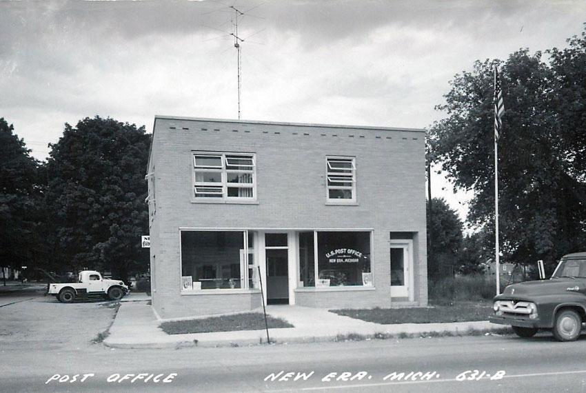new era michigan post office in black and white