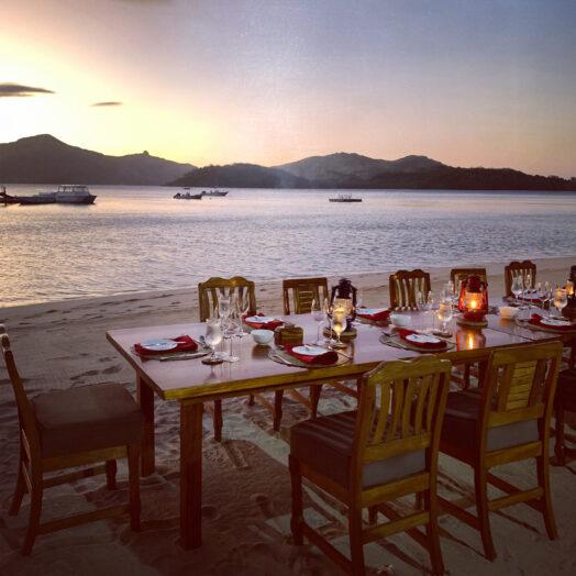 dining at Turtle Island, Fiji