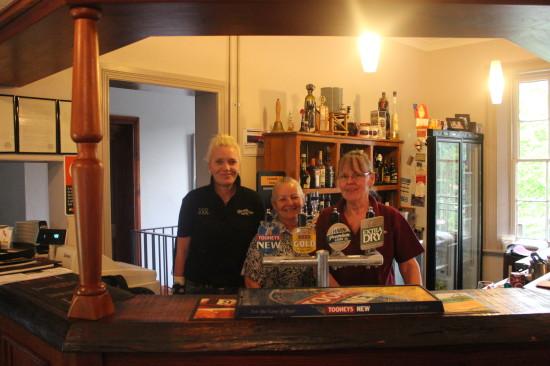 Deb, Jill and Suesann behind the Walcha Road Hotel Bar