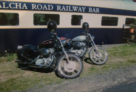 Some bike visitors to the Walcha Road Train carriage