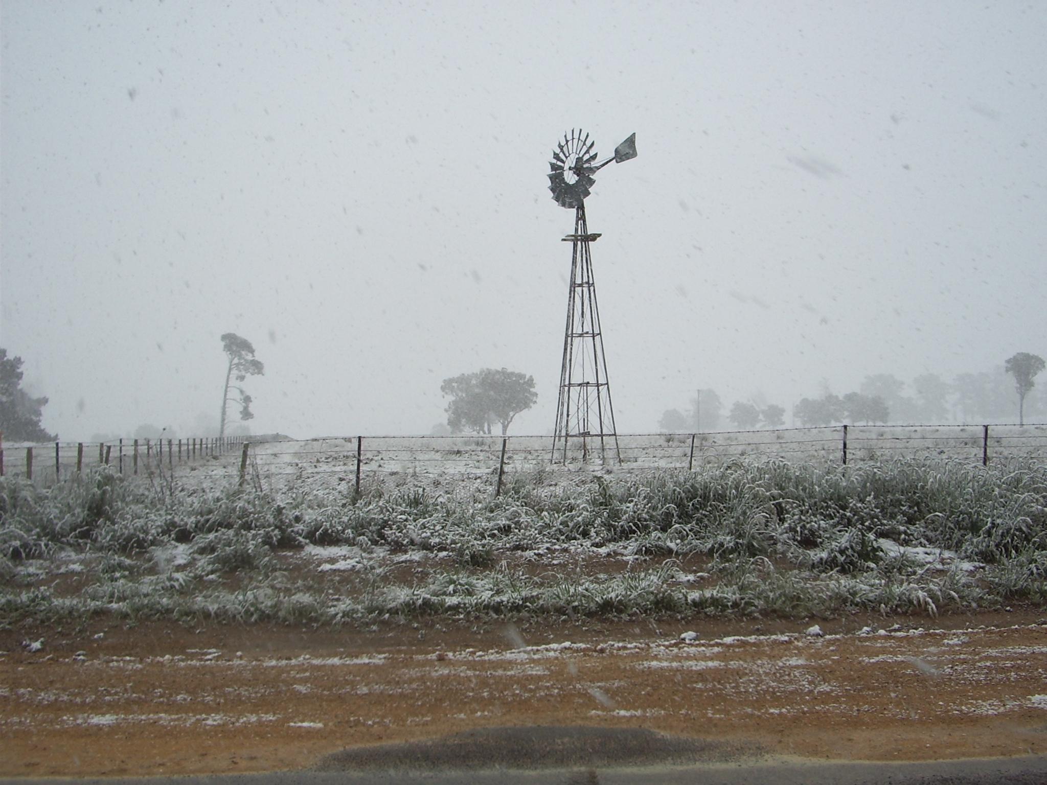 Local area in snow windmill
