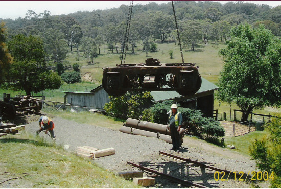 Tracks and Train being installed after the Walcha Road Hotel Fire