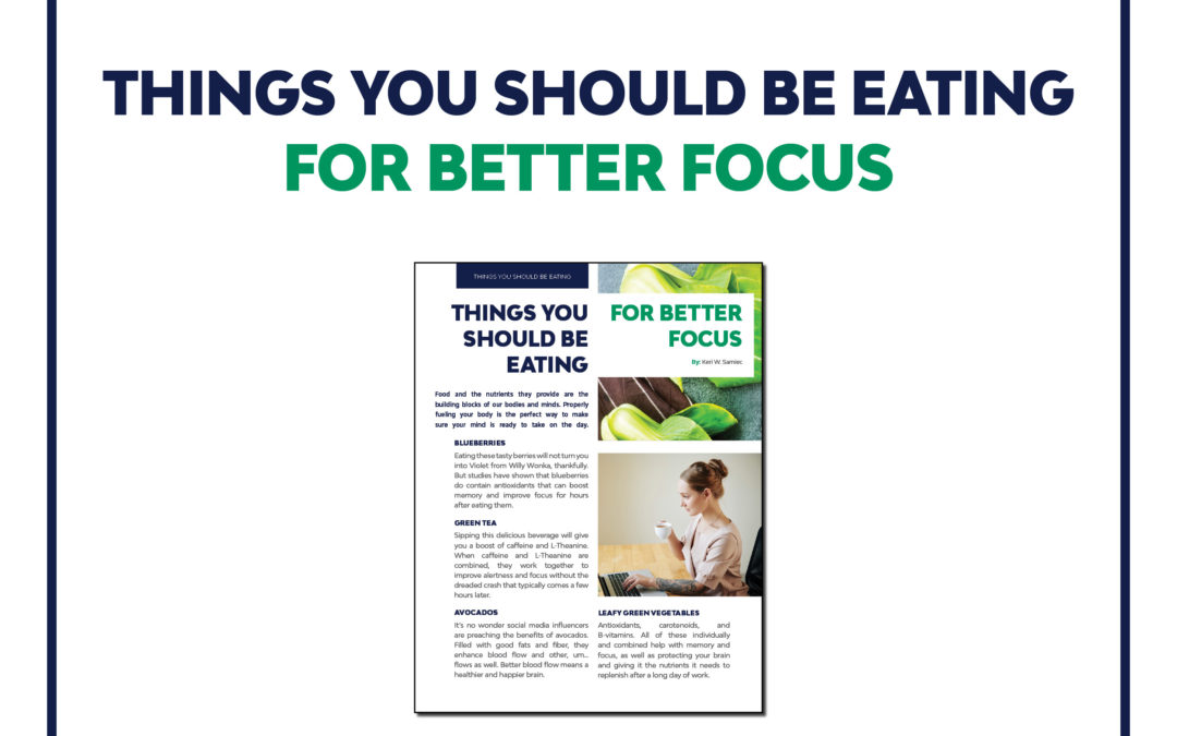 Things You Should be Eating for Better Focus