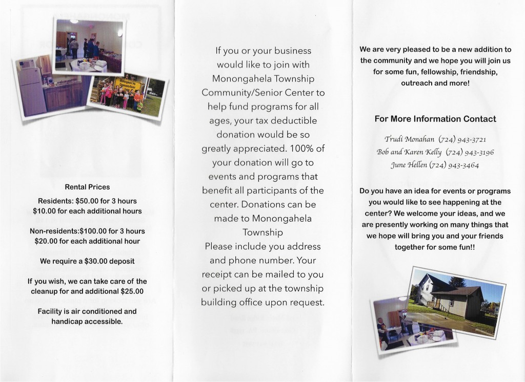 COMMUNITY CENTER BROCHURE WITH RENTAL PRICES
