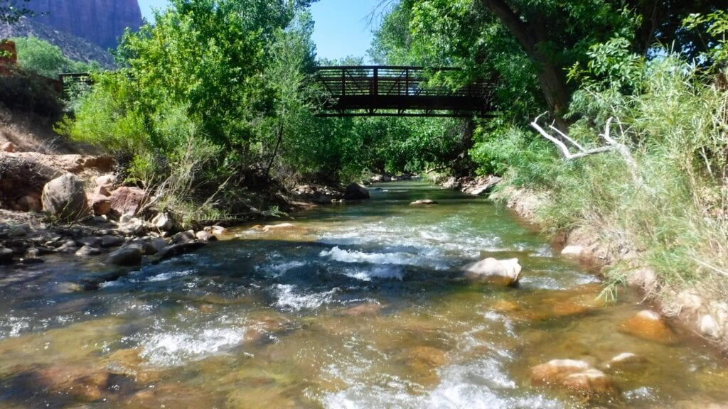 View of the Virgin River that flows outside Zion National Park, Utah