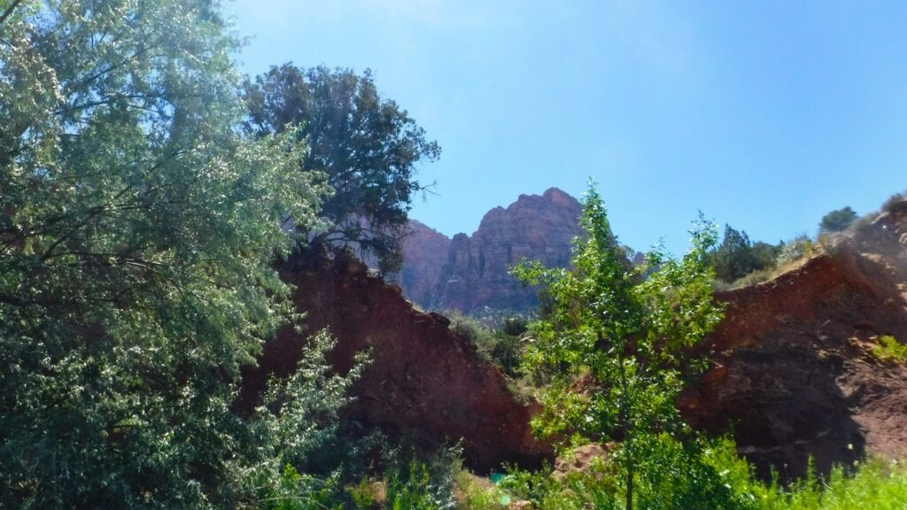 View of the mountain range at Zion National Park from The Virgin River