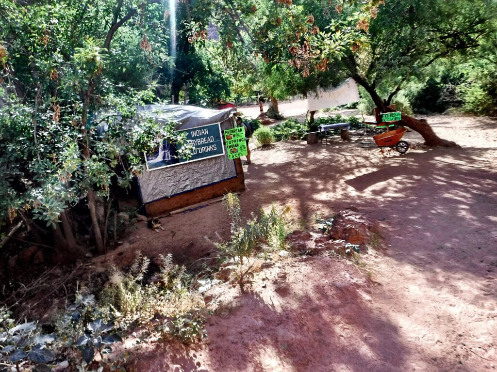 Pit-stop while hiking into The Grand Canyon, Arizona. Indian Fry-bread and cold drinks sign