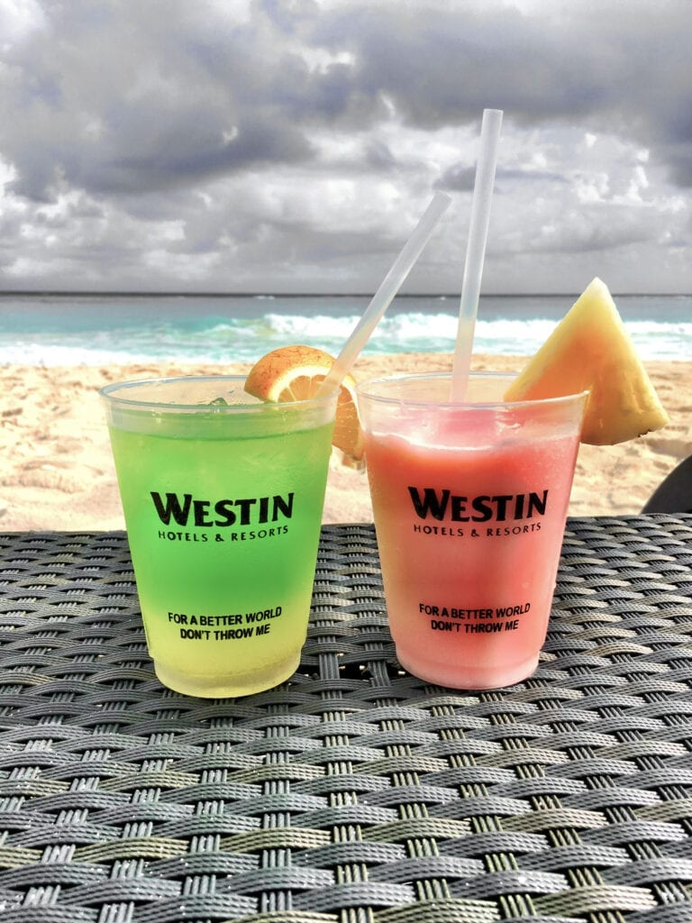 2 drinks with fruit slices on the beach at the Westin Resort