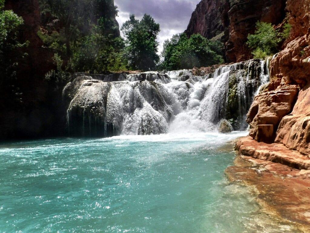 Navajo falls waterfall flowing The Grand Canyon, Arizona