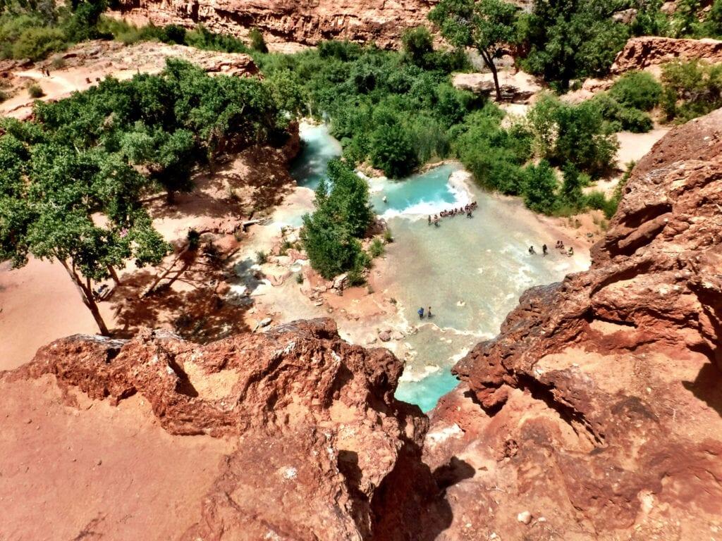watering hole havasupai falls, grand canyon, arizona view from the top