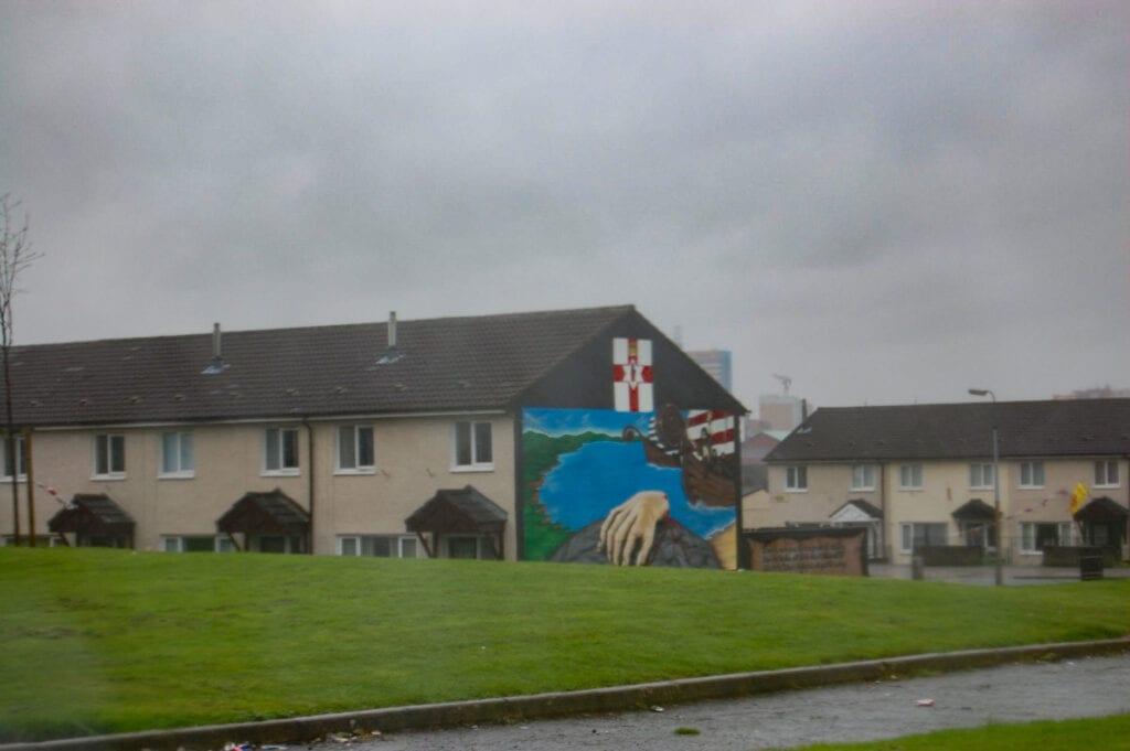 Rain and art work graffiti in Belfast, Ireland