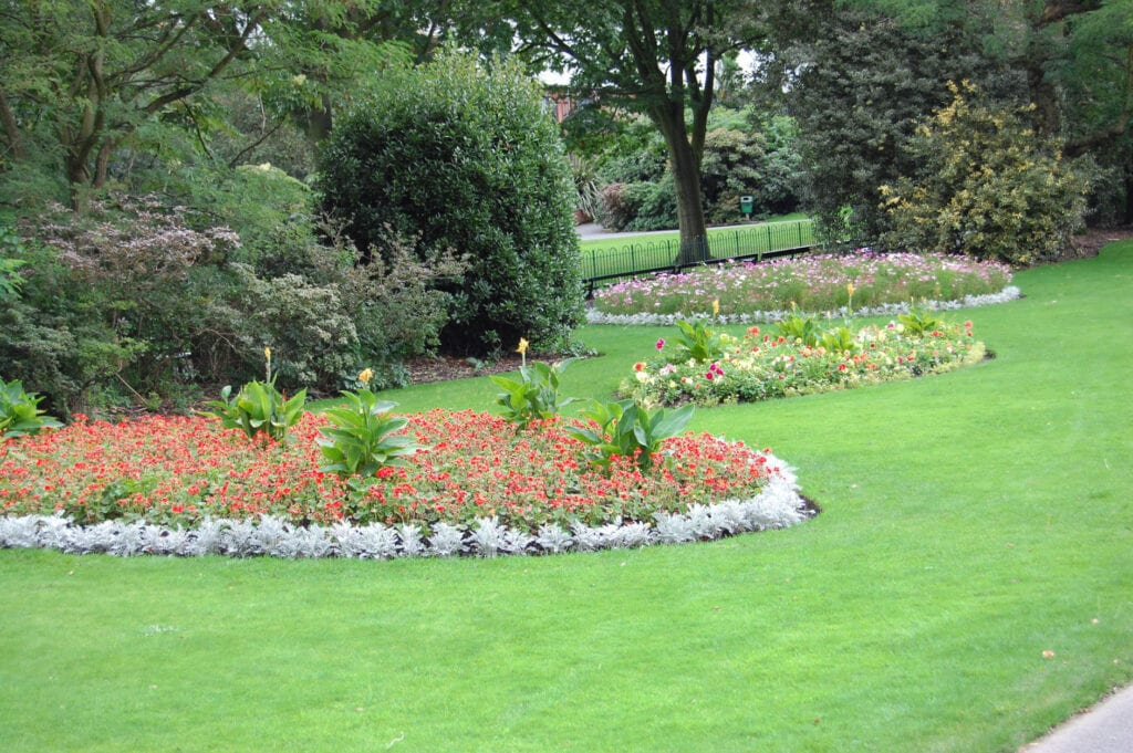 Botanical gardens, lush greenery and grass in Botanical Gardens in Belfast, Ireland