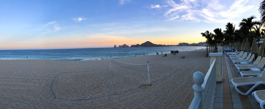 sunset against the ocean with mountains, beach the Rui Hotel and Resort, Cabo San Lucas, Mexico