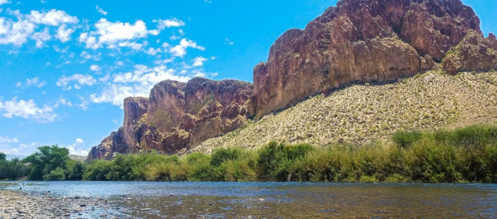View of the Virgin River against the red rocks in Springdale, Utah, outside Zion National Park